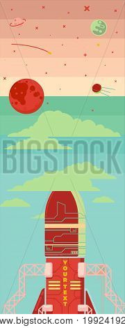 Rocket ship in a flat style. illustration. Space travel to the moon.Space rocket launch.Project start up and development process.Innovation product, creative idea.Management.