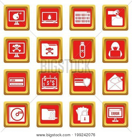 Criminal activity icons set in red color isolated vector illustration for web and any design