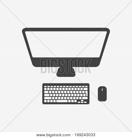 Desktop personal computer with monitor, keyboard and mouse monochrome icon. Vector illustration.