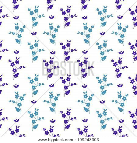 Seamless vector floral pattern small dark and light blue flowers in symmetrical arrangement on white background millefleurs ditzy fabric quilting tapestry