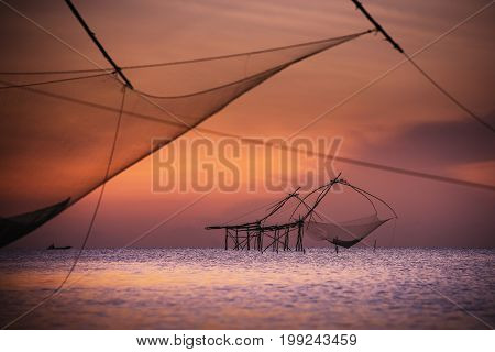 Fishing village Thailandtraditional local fisherman used net fishing in Pakpra Thale Noi Phatthalung South of THAILAND.