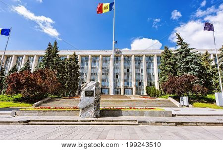 House of government of republic of moldova, stefan cel mare street in the chisinau downtown, blue sky and clouds, national square