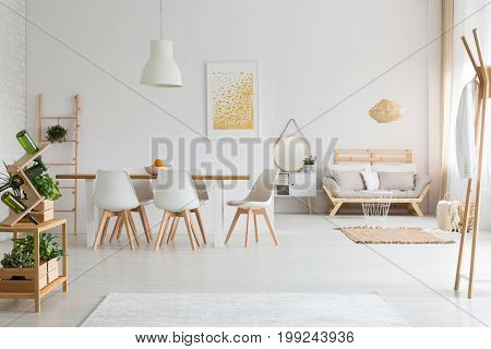 Dining Room And Living Room In Loft