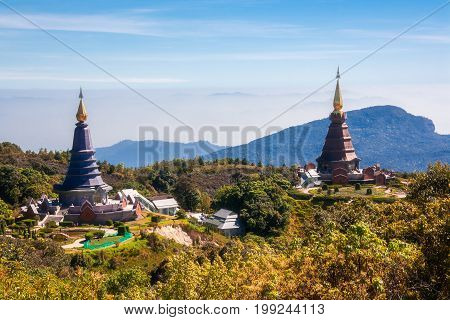 Landscape of two pagoda in an Inthanon mountain, Thailand