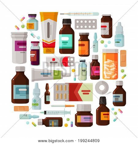 Medicine concept. Drug, medication set of icons. Vector illustration isolated on white background