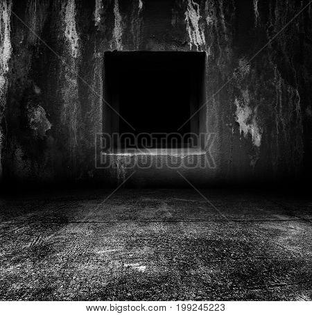 Square hole on old cement wall with floor for add an ideas,Horror background