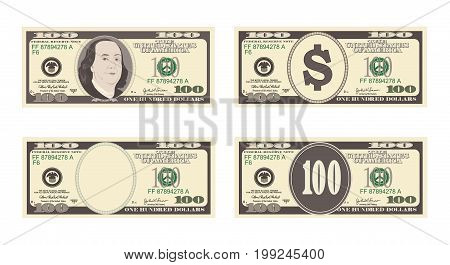 100 Dollars Banknote. Bill one hundred dollars. Suitable for discount cards, leaflet, coupon, flyer, vouchers. USA banking currency. Vector in flat style.  American president Benjamin Franklin.
