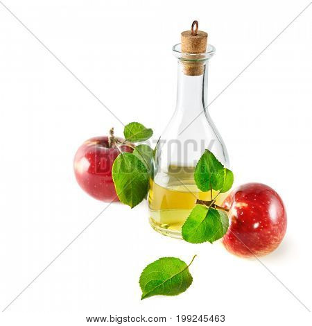 Red apples and apple cider vinegar isolated on white. Concept - fresh fruit and food from your garden.