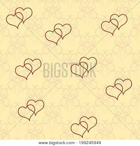Heart two on rounded twig background. Fashion graphic background design. Modern stylish abstract texture. Colorful template for prints textiles wrapping wallpaper website. Vector illustration