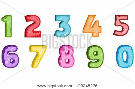 Vector cartoon kids figures. Set of color numbers. Mathematics rainbow math numeral.Colorful font graphic typography numeral count number.