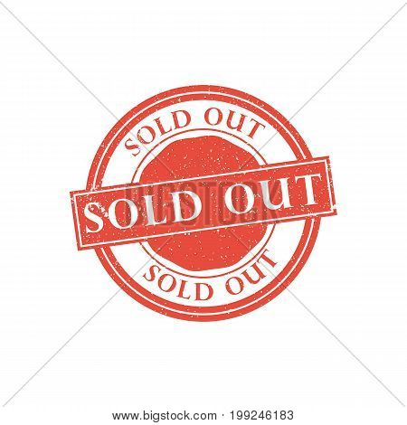 Sold out stamp on white background. Vector design