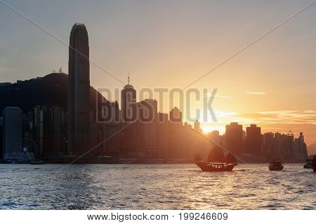 Scenic View Of Skyscrapers In Downtown Of Hong Kong At Sunset