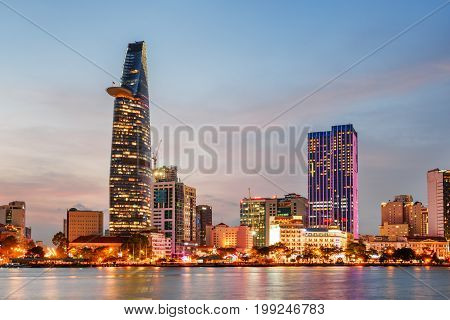 Ho Chi Minh City Skyline At Sunset. Beautiful Cityscape