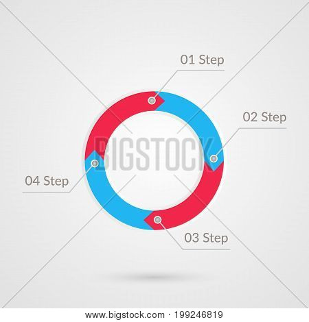 Four steps infographics. Isolated 1 2 3 4 step number symbol. Red blue gray vector icon. Business illustration sign for marketing project web design presentation development success strategy