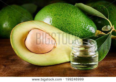 Closeup View Of Fresh Avocado And Natural Avocado Oil