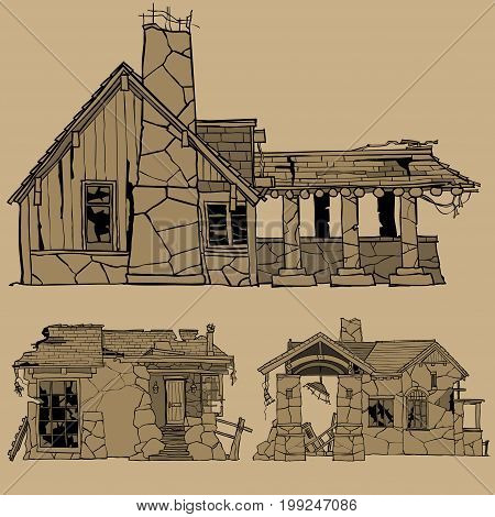 Painted monochrome sketches of destroyed stone houses