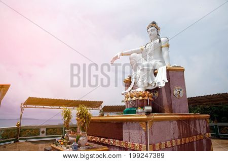CHUMPHON,THAILAND-MAY 12,2017 :Bodhisattva Buddha is Guan Yin statue the Goddess of compassion and Mercy on Mutsea mountain viewpoint is popular with tourists and people in Chumphon Province,Thailand.