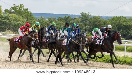 PYATIGORSK,RUSSIA - JULE 23,2017: Horse race for the traditional prize of Big Summer- the oldest and the largest racecourses in Russia.
