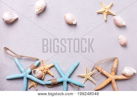 Marine items on grey tetured slate background. Sea objects. Selective focus. Place for text. Top view.