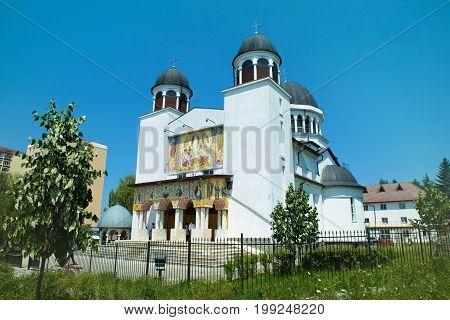 Beautiful architecture of Christian Orthodox church Saint Maria in Brasov, Romania
