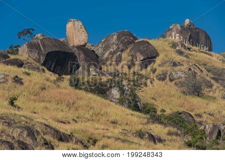 Bone Rock (Pedra do Osso), a Natural Formation of One Rock on the Top of Another, and Jesus Come Written in Portuguese, in East Zone of Rio de Janeiro City