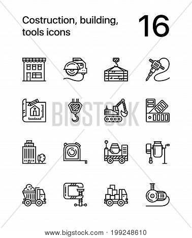 Construction, building, tools seamless vector outline icons for web and mobile design pack 3