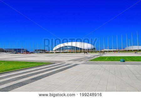 Russia - July 11 2017 Sochi Olympic Park. Ice Palace Drop
