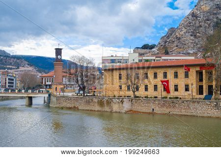 Ottoman Houses And Clock Tower In Amasya