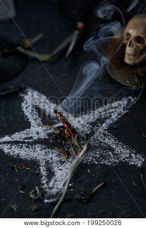 Sinister ritual of death worship. Halloween concept. Black magic.