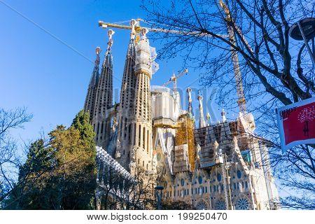 BARCELONA SPAIN - February 9, 2017: Sagrada Familia in Barcelona, Spain