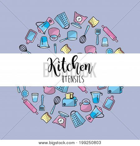 kitchen utensils culinary collection background vector illustration
