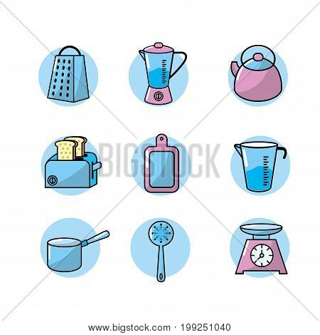 set kitchen utensils and traditional object vector illustration