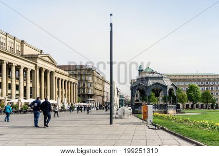 STUTTGART, GERMANY - April 12, 2017: Schlossplatz is the largest square in the center of Stuttgart, GERMANY