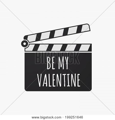Isolated Clapper Board With    The Text Be My Valentine