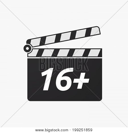 Isolated Clapper Board With    The Text 16+