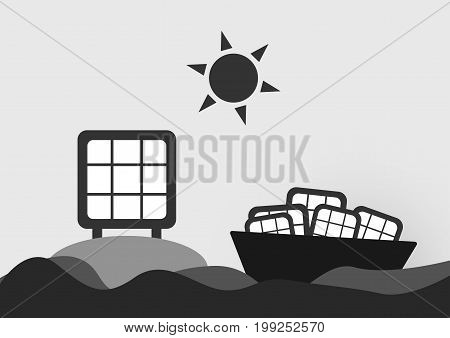 Infographics of solar cell on the sea with sun . Vector design.