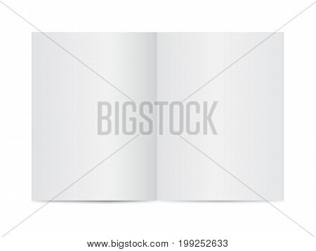Mock up of booklet isolated. Open notebook magazine brochure book. Vector template on white background.