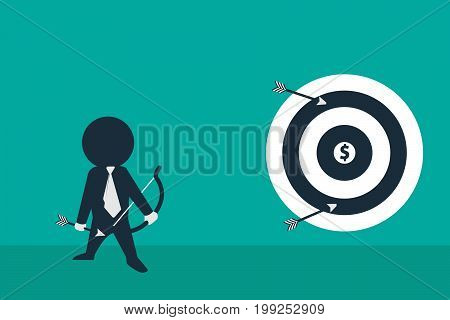 Stickman look like a  businessman holding arrow and looking towards target. Concept business vector illustration.