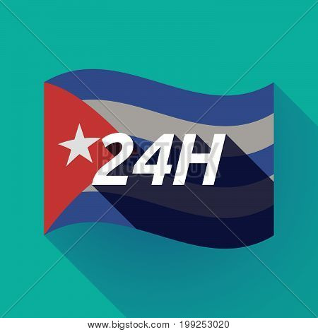 Long Shadow Cuba Flag With    The Text 24H