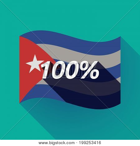 Long Shadow Cuba Flag With    The Text 100%