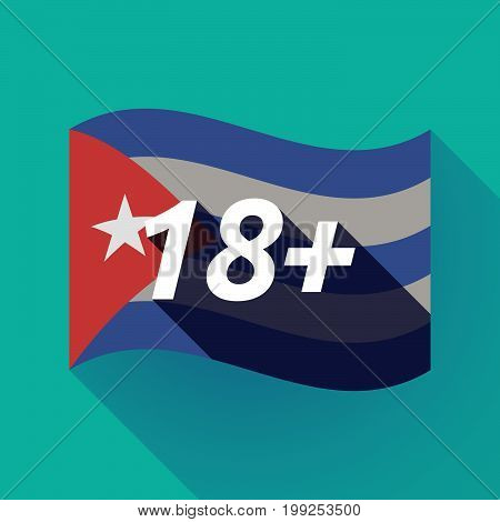 Long Shadow Cuba Flag With    The Text 18+