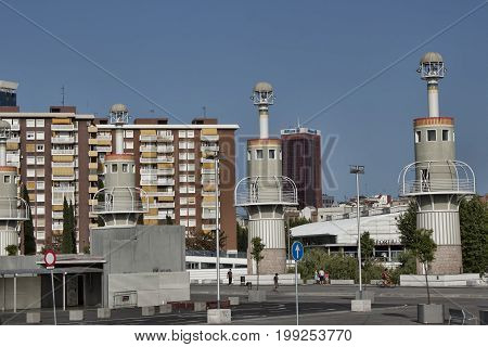 The Beacons Of An Industrial Park, Located Near The Sants Train Station In Barcelona
