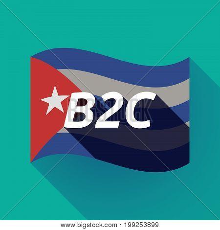 Long Shadow Cuba Flag With    The Text B2C