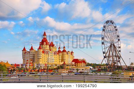Sochi, Russia - July 14 2017 , Bogatyr Hotel near the Sochi Park