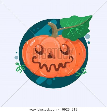 Halloween pumpkin with scary face on white. Flat vetor illustration