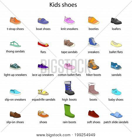 Kids shoes, set, collection of fashion footwear with names. Baby, girl, boy, child, childhood. Vector design isolated illustration. Black outlines, colored images, blue background.