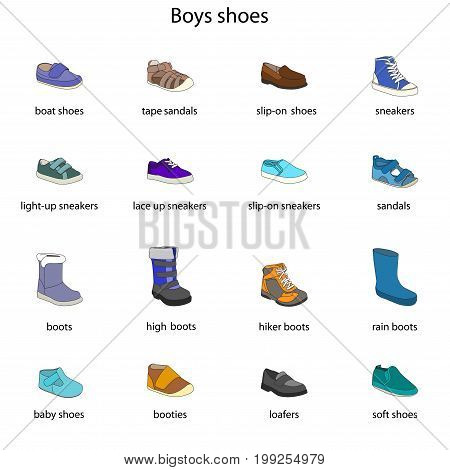 Boys shoes, set, collection of fashion footwear with names. Baby, kid, child, childhood. Vector design isolated illustration. Black outlines, blue background.