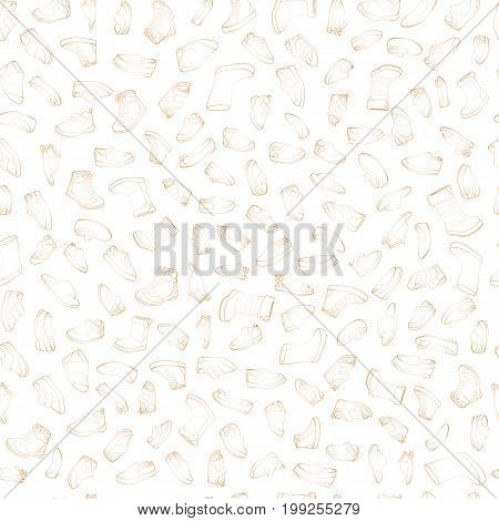 Kids shoes, set, collection of fashion footwear, seamless pattern. Baby, girl, boy, child, childhood. Vector design isolated illustration. Brown outlines, yellow watercolor background.