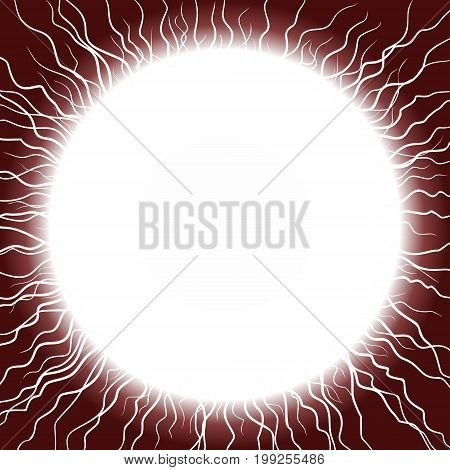 A red round frame with lightning discharge.
