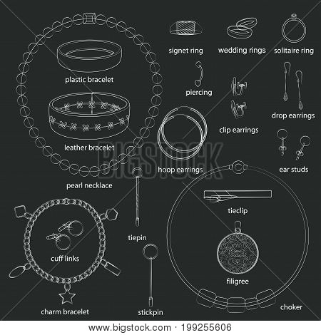 Set of jewelry illustrations. White background, black objects, white outline, names. Isolated images for your design. Vector.